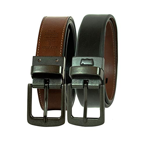 Levi's Men's 30mm Reversible Beveled Edge Belt,Black/Brown,Small/22-24 Inches