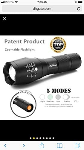 Alpha Tactical Flashlight LED Ultra Bright Torch 3800 lumens 5-Mode Zoomable