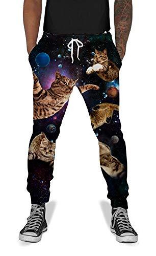 (UNIFACO Men Women 3D Printed Funny Space Cat Sweatpants Cool Graphric Sports Jogging Pants XL)