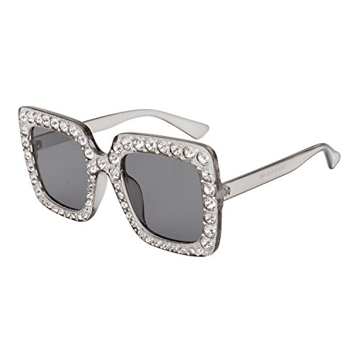 ROYAL GIRL Sunglasses For Women Oversized Square Luxury Crystal Frame Brand Designer Fashion Glasses (Gray Frame&Gray Lens, - Gray Lenses Photo