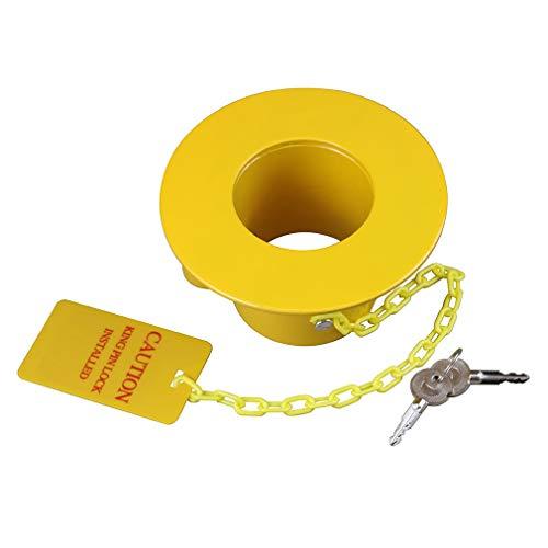 OKLEAD Heavy Duty Steel Kingpin Lock 5th Wheel Trailer Lock King Pin Lock with Bright Yellow Caution Tag