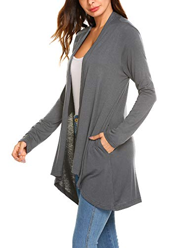 (POGTMM Women's Casual Loose Long Sleeve Draped Open Front Sweater Cardigans with Pockets (Charcoal Grey, US XXL(20-22)))