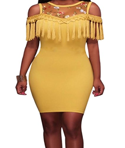 Yellow Shoulder Coolred Dresses Tassel Women Transparent Off Out Fitted Cut Edge UqvSq1X