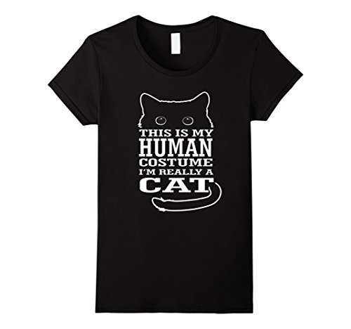 Womens This Is My Human Costume I'm Really a Cat Tshirt Funny Large Black - Black Cat Costume Diy