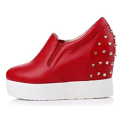 High Pu Women's Pull On WeiPoot Toe Round Solid Shoes Red Heels Pumps Closed 84xqUdw5