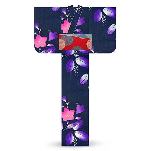 バイオリン受粉するペンス花咲音 kasane レディース 浴衣 3点セット レトロモダン 古典 和柄桔梗 紫