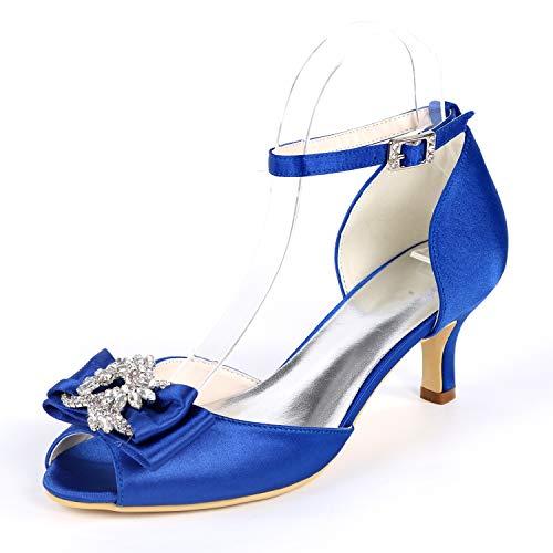 6cm Boda Heel Satén Zapatos yc 43 Peep Kitten Buckle Tacones Altos Toe Blue De Cordón L Mujer 35 aRIUFRZ