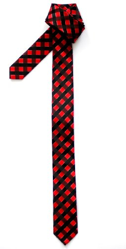 and Necktie Colors Microfiber Check Woven Various Black Red Tie Skinny Retreez Classic Check qvKc6cH
