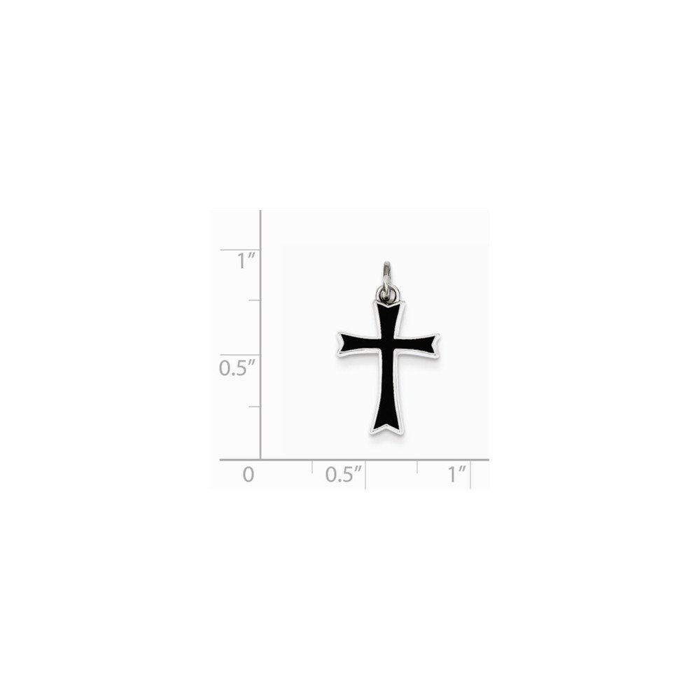 16-20 Mireval Sterling Silver Black Enameled Cross Charm on a Sterling Silver Chain Necklace
