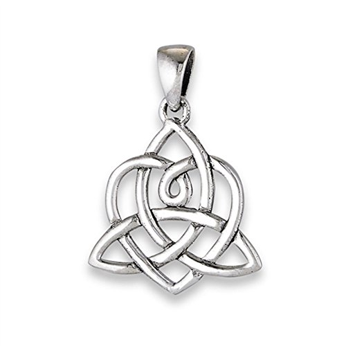 (Triquetra Trinity Knot Pendant .925 Sterling Silver Celtic Lotus Endless Charm - Silver Jewelry Accessories Key Chain Bracelet Necklace Pendants)