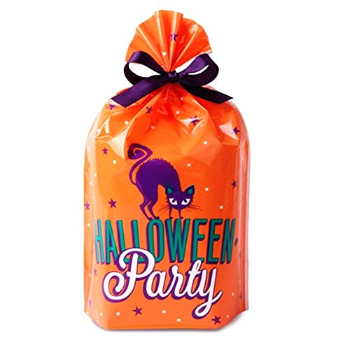 Halloween Party Cat Trick or Treat Candy Cookie Gift Bags with Purple Ribbon for Packaging, Pack of 95]()