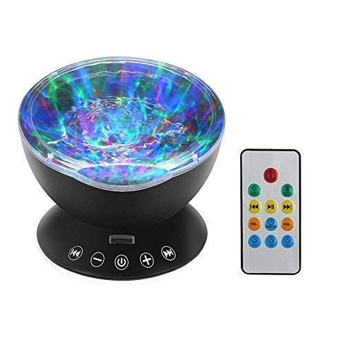 (KBAYBO Remote Control Ocean Wave Projector 12 LED &7 Colors Night Light Projector with Built-in Mini Music Player for Living Room and Bedroom (Black))