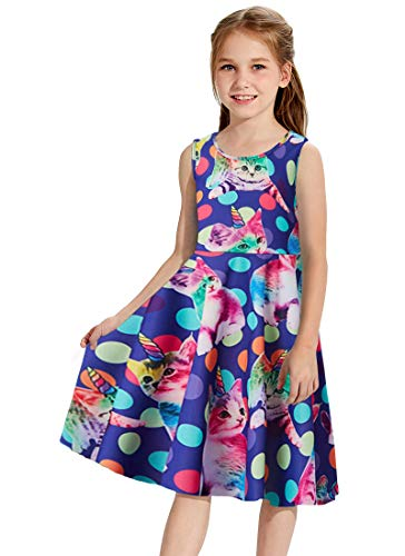 Little Girls Cute Cats Dresses Beautiful Kneel Length Twirling Overalls Dress Summer Formal Maxi Midi Skirts Daily School for Casual 6-7 T