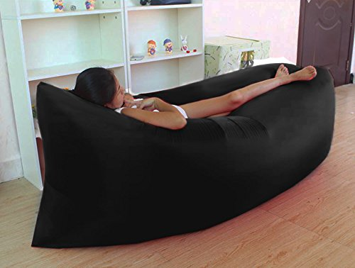 POTOBO Air Lounger Inflatable Lounge Lazy Sofa Bag Couch Sleeping Hammock Pool Float Portable for Indoors & Outdoors Camping Travel Beach Waterproof Black -