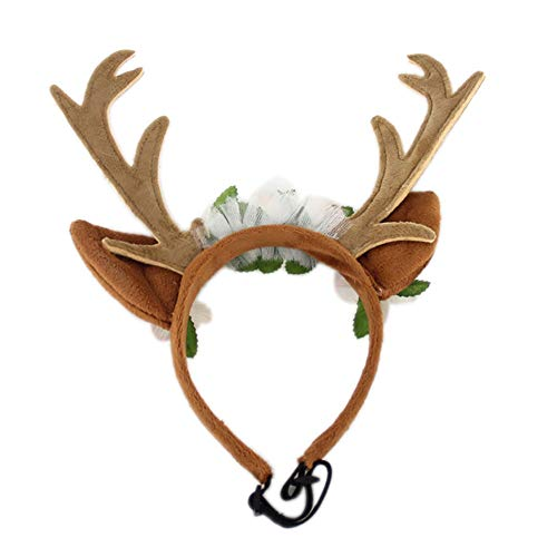 Amiley Pet Costume Antlers Headbands with Ears Adjustable Flexible for Dogs Cats Various Size Halloween Christmas Festival Costume (Large)