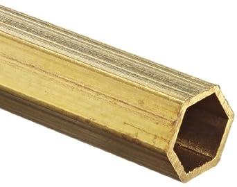 """Brass C260 Hexagonal Hollow Bar, 3/32"""" Width Across Flats, 0.014"""" Wall, 12"""" Length"""