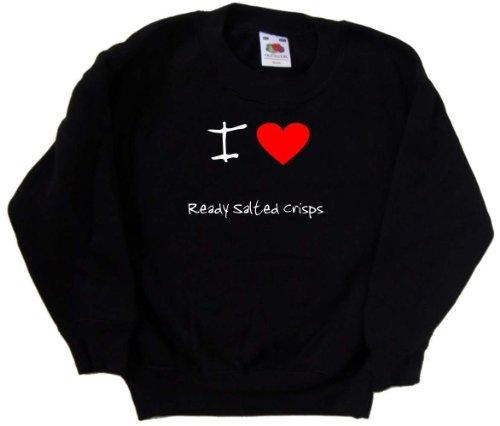 I Love Heart Ready Salted Crisps Black Kids Sweatshirt (White print)-14-15 Years