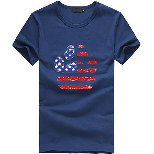 Splendid Scoop Neck Tunic Top - Sunhusing Ladies Independence Day Star Stripe Flag Pattern Dog Claw Shape Printed Short Sleeve T-Shirt Navy