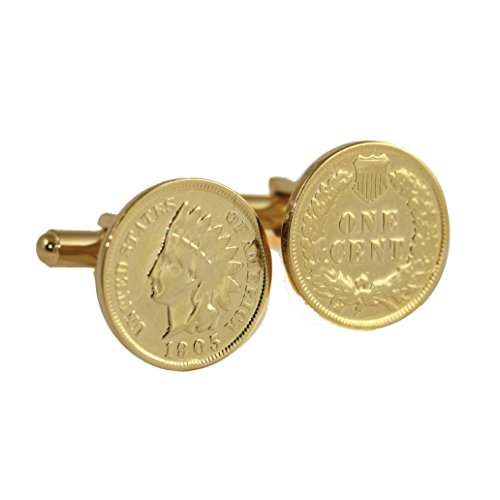 24K Gold Layered Indian Head Coin Cuff Links | United States Coins | Men's Cufflinks | Over 100 Years Old ()