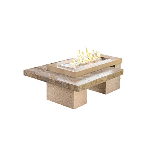 Price comparison product image Outdoor Great Room Uptown Crystal Fire Pit Table with Tile Top and Rectangular Burner, Brown