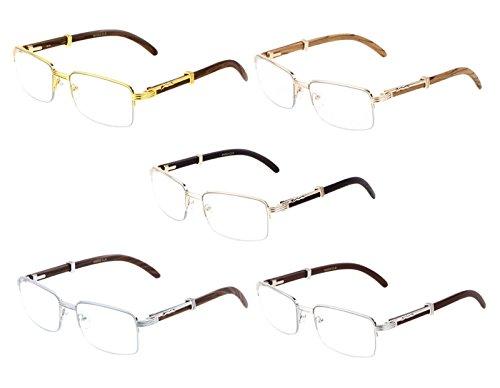 ac395a38fc Executive Half Rim Rectangular Metal   Wood Eyeglasses   Clear Lens  Sunglasses. Click image for Gallery