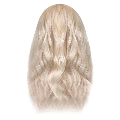 Jaromepower 17.7'' Short White Wavy Synthetic Lace Front Wigs for Women Synthetic Lace Front Wig Natural Curly Wave Fashion Wigs,Cosplay,Blonde Wigs Hair Wigs for Black Women