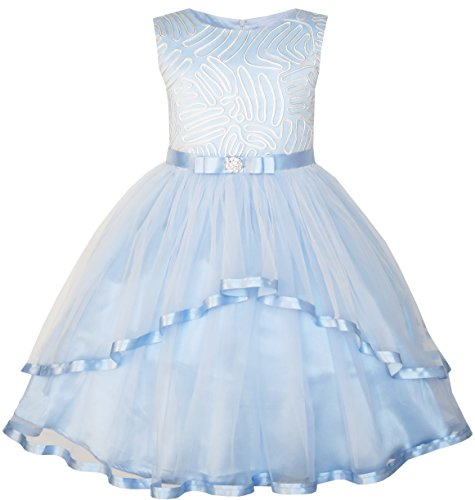 Sunny Fashion JT95 Flower Girls Dress Blue Belted Wedding Party Bridesmaid Size 8