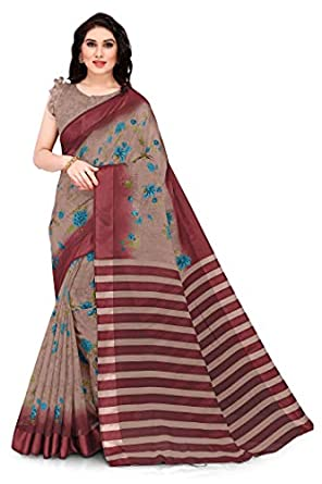 SOURBH Women's Cotton Blend Saree with Blouse Piece