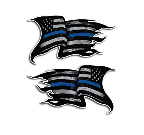 2 Pack of Thin Blue Line Tattered Subdued Decals Police Officer BLM American Flag Vinyl Decal Sticker Car Truck 4