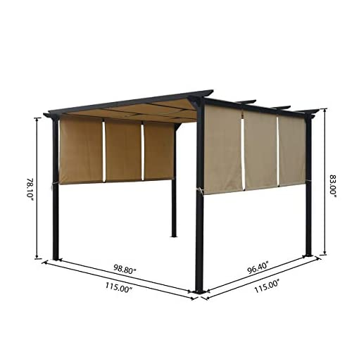 Garden and Outdoor Christopher Knight Home 304382 Dione Outdoor Steel Framed 10′ Gazebo, Beige/Brown pergolas