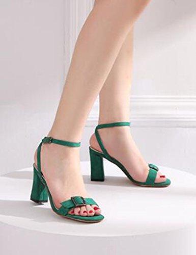 Palabra De Verde Zapatos Tamaño Mujer Zapatos 37 Sandalias De Color De Tacones Banda Grueso Altos Tacón Zapatos ZCJB Verano Cuadrada Femenina De De De Cabeza 6wPBqAq