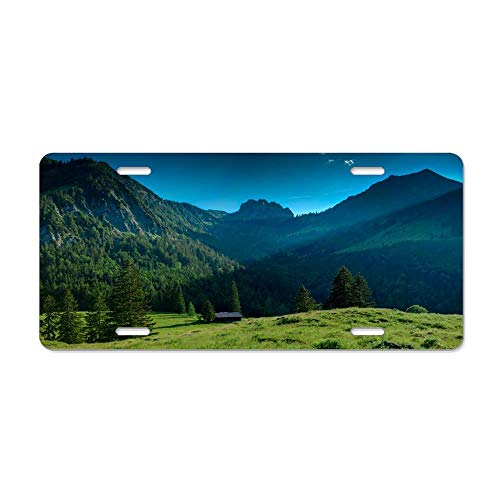 Kingsinoutdoor A Cabin in A Beautiful Valley in Bavaria Personalized Novelty License Plates Aluminum, Customized Decorative Front Car Tag Sign for US Vehicles 12 x 6 Inch