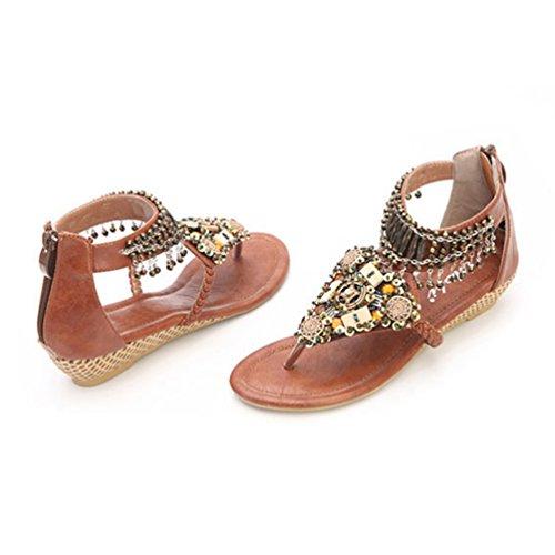 Bohême Marron Peep De Flops Perles Flip NiSeng Toe Compensées Femme Chaussure Sandale Tongs Élégant Plage g4pgnZxI6