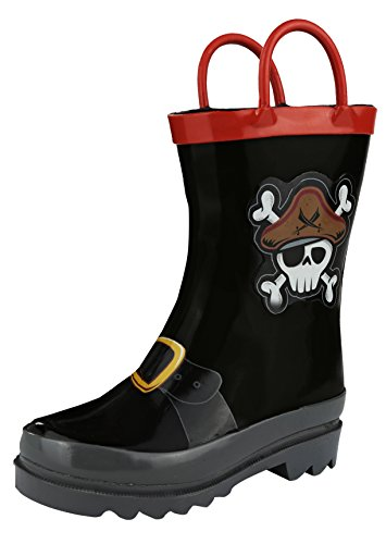 Boy's Pirate Black Rain Boots (Toddler/Little Kid) (10 M US (Pirate Boots For Kids)