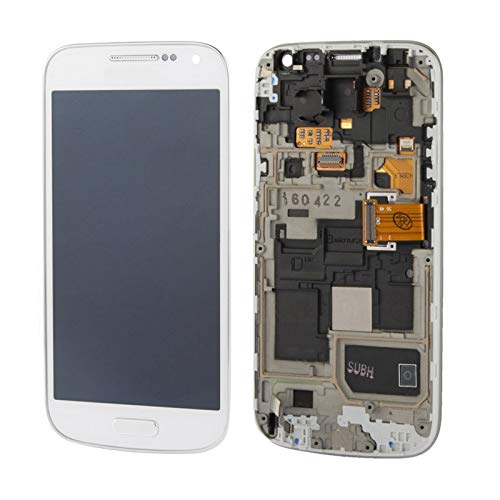 CAIFENG Repair Replacement Parts New LCD Display + Touch Panel with Frame for Galaxy S IV Mini / i9195 / i9192 / i9190(White) Phone Touch Screen