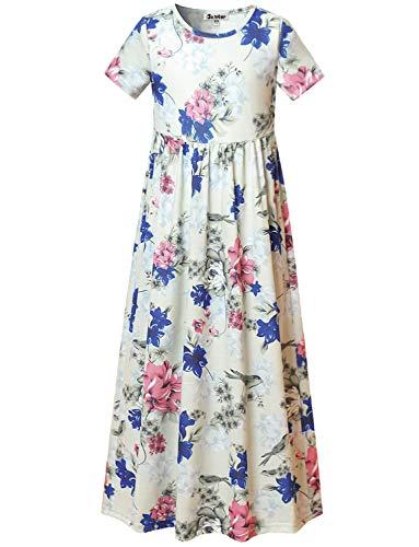 Little Girls Floral Maxi Dresses Elastic Waist Flower