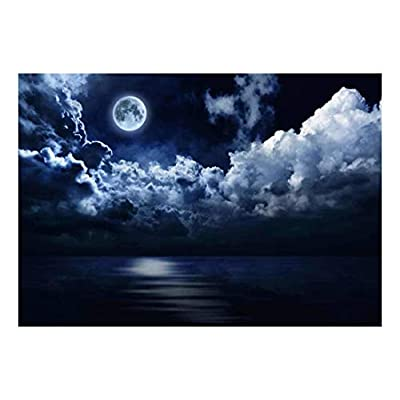 Incredible Visual, Created Just For You, Night Time View of The Moon Swimming in a Sea of Clouds Wall Mural