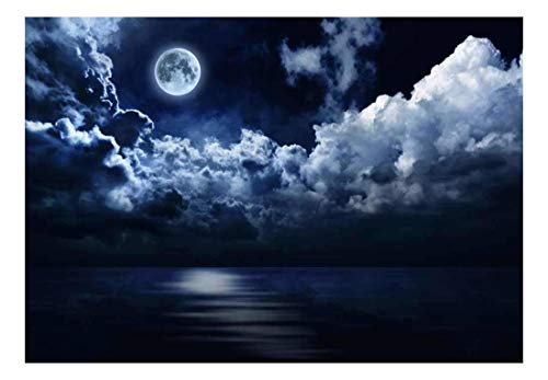 Night Time View of the Moon Swimming in a Sea of Clouds Wall Mural