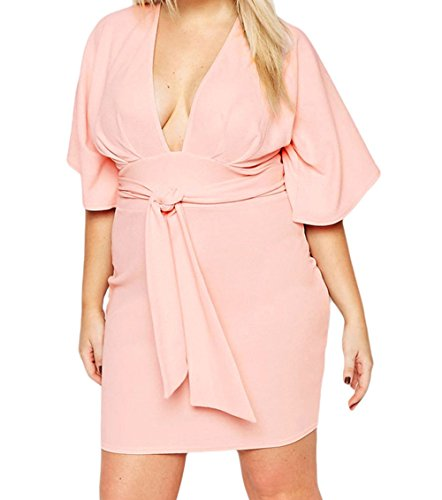 FQHOME Womens Belted Plus Size Kimono Dress – 3X, Pink