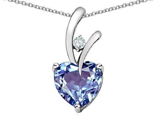 Star K Heart Shape 8mm Simulated Aquamarine Endless Love Pendant Necklace Sterling Silver