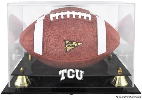 Sports Memorabilia TCU Horned Frogs Golden Classic Football Display Case with Mirror Back - College Football Logo Display Cases