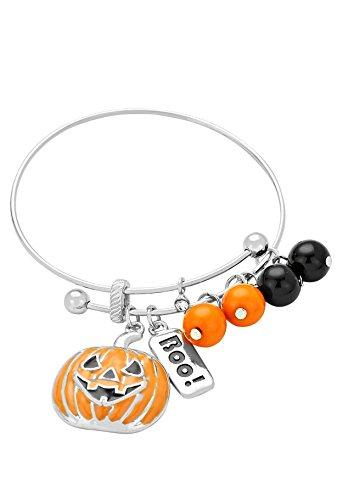 Rosemarie Collections Womens Halloween Costume Pumpkin Bead Dangle Charm Bracelet Class Party Gift