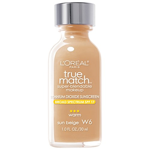 Warm Beige Foundation - L'Oréal Paris True Match Super-Blendable Foundation Makeup, Sun Beige, 1 fl. oz.