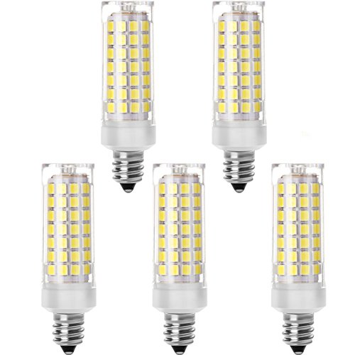 Goldwin 5 pcs Dimmable 5.5 W E11 LED Light Bulb,Mini Candelabra Base Halogen Replacement,Equivalent to 55W,Daylight White 6000K for Chandelier,Crystal lamp, Ceiling Fan Light ()