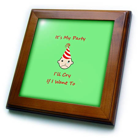 Clear ft/_280156/_1 3dRose Its My Party Ill cry if I Want to 6 by 6 inches Decorative Tiles 8x8 Framed