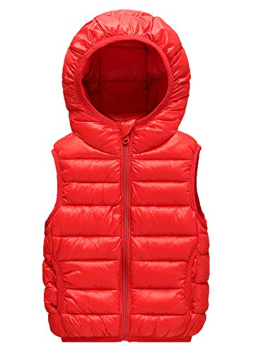 Infant Girls Fashion Thick Vest Cotton Thin Vest Lightweight Windproof Vest Sleeveless Down Jacket Padded Winter Coat Puffer Pocket Clothes Red 4-5T