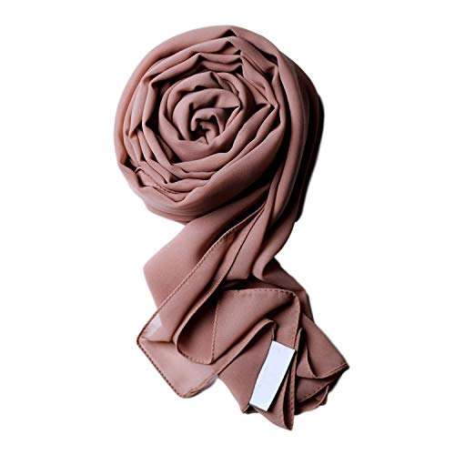 Voile Chic 8 Colors Pink Taupe Premium Chiffon Wrap Head Scarf (Non-Slip) (Scarf Hijab For)