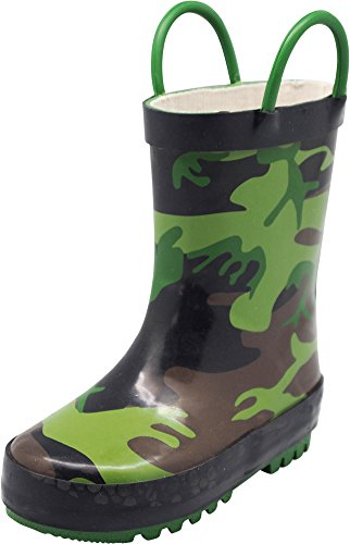 NORTY Boys Camouflage Waterproof Rainboot, Olive Brown - Kids Boots Designer