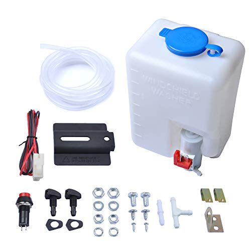 OTUAYAUTO Universal Windshield Washer Bottle, 12V Washer Pump Fluid Reservoir Sprayer Kit - OEM: 160186
