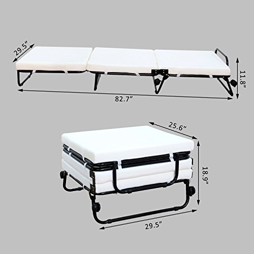 HOMCOM Twin Size Folding Convertible Sleeper Bed Ottoman With Beige Slip Cover